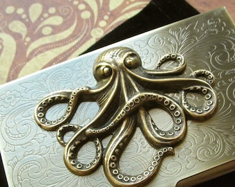 Steampunk Card Case Big Brass Octopus Business Card Case Antiqued Brass Metal Case Gothic Victorian Style Fancy Card Case Florentine Scroll