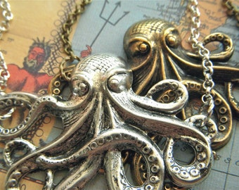Big Octopus Necklace Silver & Brass Set Of 2 Large Gothic Victorian Nautical Steampunk Rustic Primitive Antiqued Brass Rolo Chain