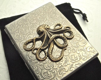 Big Octopus Cigarette Case Brass Octopus On Antiqued Silver Nautical Steampunk Gothic Victorian Vintage Inspired Style Mixed Metals