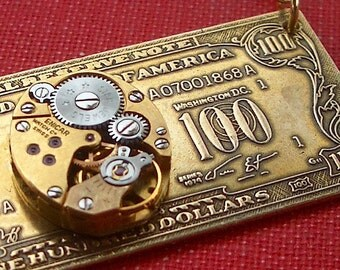 Steampunk Necklace 100 DOLLAR BILL Handcrafted Art Jewelry By Cosmic Firefly Las Vegas