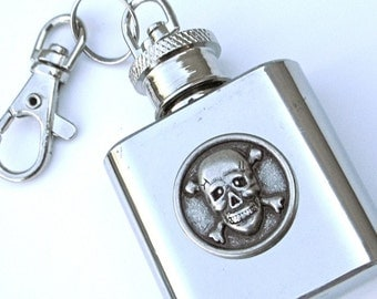SALE Miniature Flask KEYCHAIN Skull & Crossbones 1 OZ Small Flask Purse Flask Steampunk Flask Pirate Flask Cosplay Flask Prop Flask New