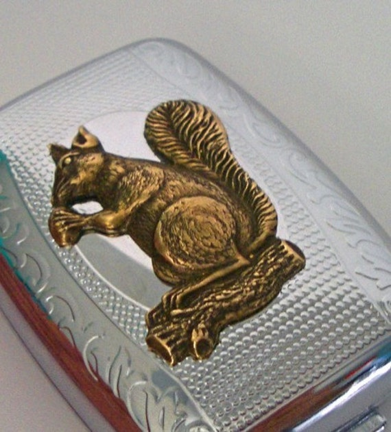 Squirrel Pillbox Case Chrome Silver Pill Box With Raised