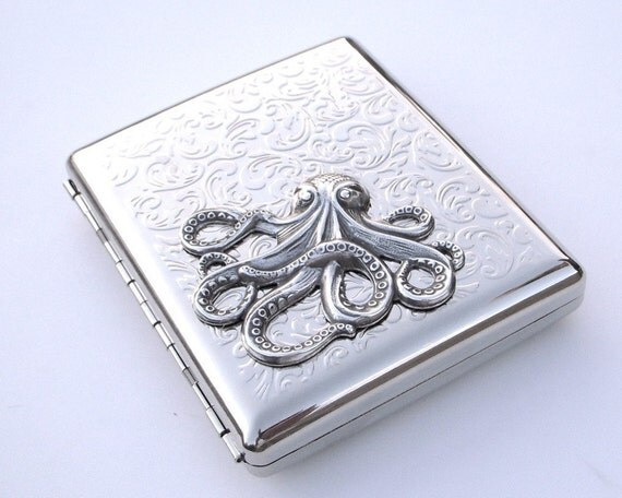 EXTRA LARGE OCTOPUS SILVER-PLATED METAL CIGARETTE CASE \/ WALLET - Art Nouveau Design Kraken - DOUBLE SIZE INSIDE - EXCLUSIVE from CosmicFirefly