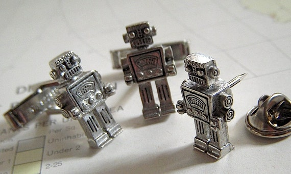 Steampunk ROBOT Cufflinks and Tie Tack Pin - SET of 3 Silver Plated Metal Miniatures - CosmicFirefly ORIGINAL DESIGN