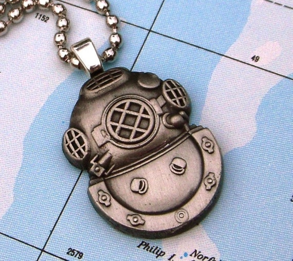 Steampunk Necklace - Classic Nautical DIVING BELL HELMET Pendant - Silver Plated Chain Included FREE - Exclusive From CosmicFirefly