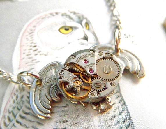 Steampunk Necklace Gothic COSMIC OWL - Vintage Old Watch Movement with Silver Wings and Chain - Steampunk Fashion Jewelry from Cosmic Firefly