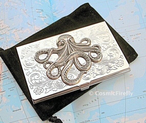 Steampunk business card holder octopus silver by cosmicfirefly for Steampunk business card holder