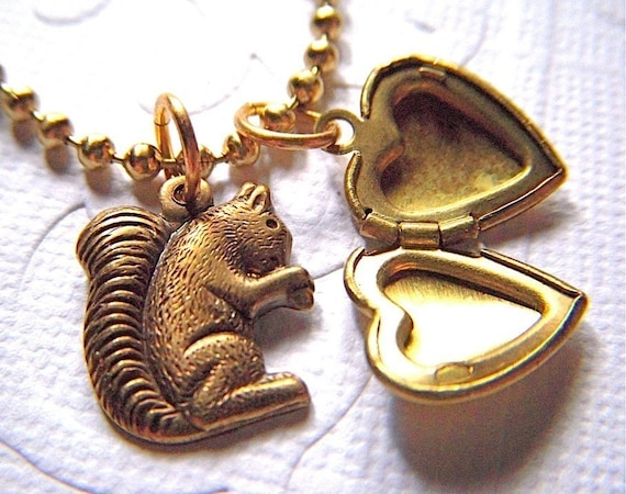 Squirrel and Tiny Heart Locket Necklace - Long Brass Chain Included