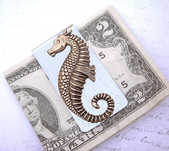 Seahorse Money Clip Fancy Money Clip Antiqued Brass Seahorse Cosmic Firefly Steampunk Money Clip Gothic Victorian Money Clip