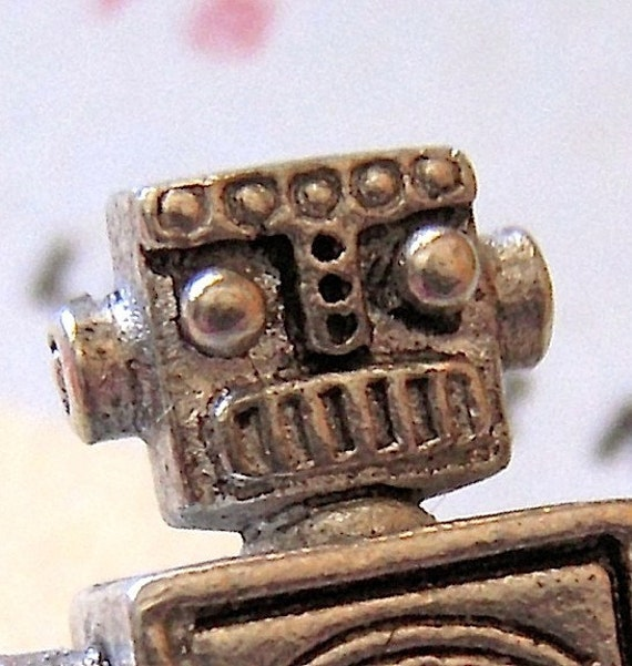Robot Tie Tack Silver Plated Men's Accessories & Gifts Steampunk Style Original From Cosmic Firefly Las Vegas
