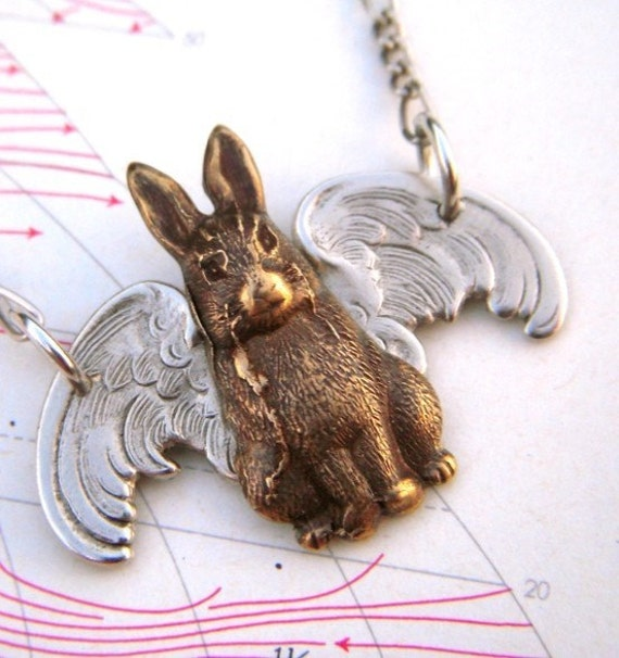 Steampunk Necklace Gothic Victorian Flying Rabbit Brass Bunny Silver Plated Wings and Chain - Original Design by Cosmic Firefly