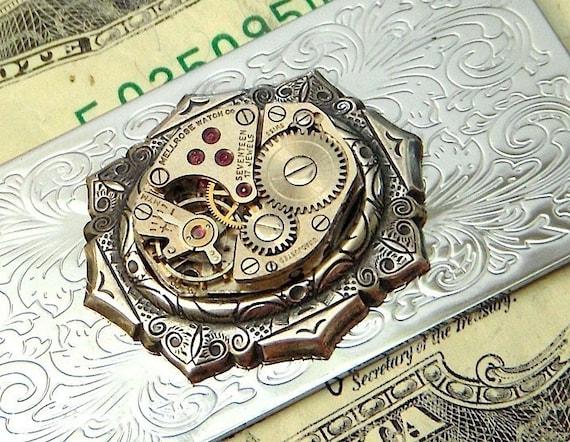 Men's Steampunk Money Clip Gothic Victorian Vintage Watch Movement Cosmic Firefly Las Vegas Men's Money Clip
