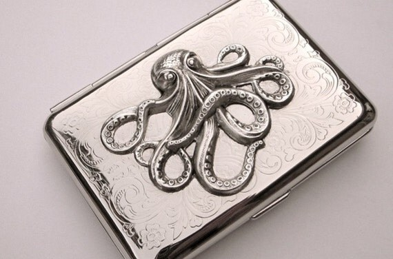 Cigarette Case Octopus Vintage Inspired Silver Plated Gothic Victorian Nautical Small Double Size Metal Wallet