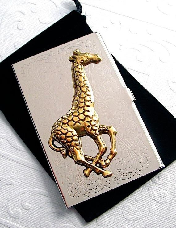 Steampunk business card holder giraffe mixed metals silver for Steampunk business card holder