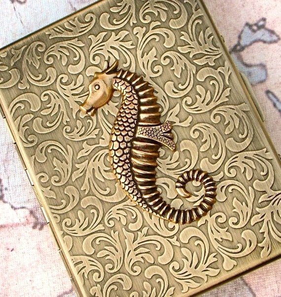 Antiqued Brass Seahorse Metal Cigarette Case Gothic Victorian Nautical Steampunk Rustic Antiqued Gold Tone Case Art Deco Vintage Inspired
