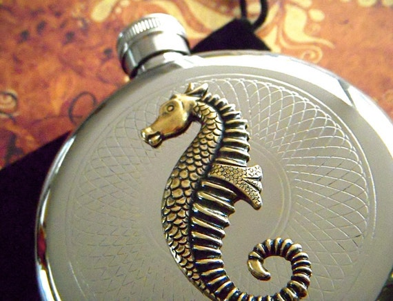 Seahorse Flask Gothic Victorian Vintage Inspired Round Nautical Silver & Brass Art Deco Steam Punk Accessories