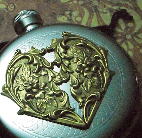 Round Flask Brass Heart Flask Gothic Victorian Steampunk Flask Gifts For Her Vintage Inspired Mixed Metals