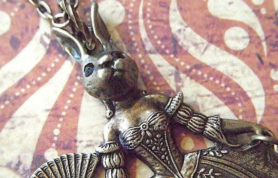 Steampunk Necklace Rabbit Girl Rabbit Necklace Gothic Victorian Carnival Sideshow Dark Circus Freak Girl Rustic Brass Art Jewelry