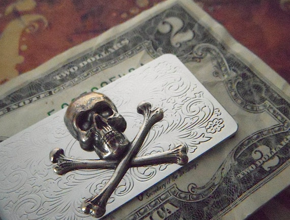 Men's Money Clip Skull And Crossbones Gothic Victorian Pirate Skull Money Clip Silver Plated Metal Vintage Inspired Steampunk Style