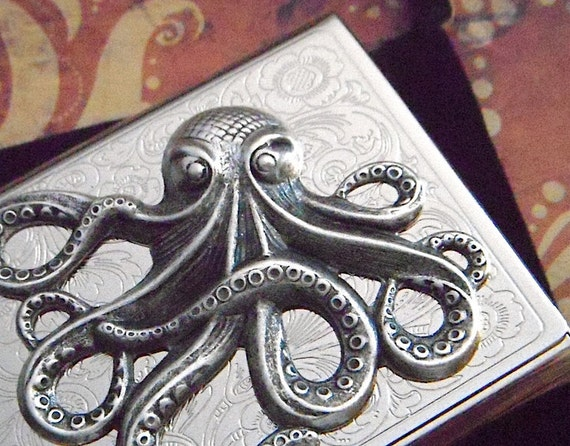 Silver Octopus Business Card Case Steampunk Card Case Silver Card Holder Gothic Victorian Card Case Metal Card Case Nautical Card Case