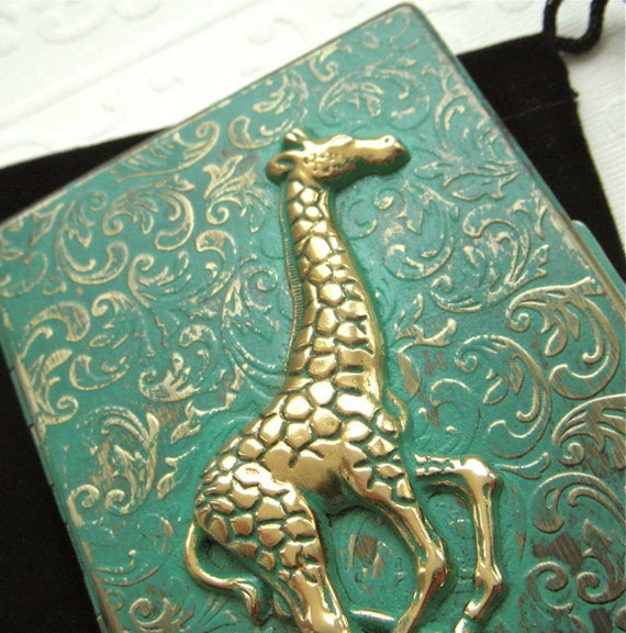 Cigarette Case Giraffe Case Green Verdigris Finish Rustic Vintage Inspired Victorian Steampunk Case From Cosmic Firefly Las Vegas