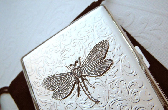 Big Silver Dragonfly Cigarette Case Double Size Silver Plated Vintage Style Gothic Victorian Steampunk Style Accessories Woman's Gifts