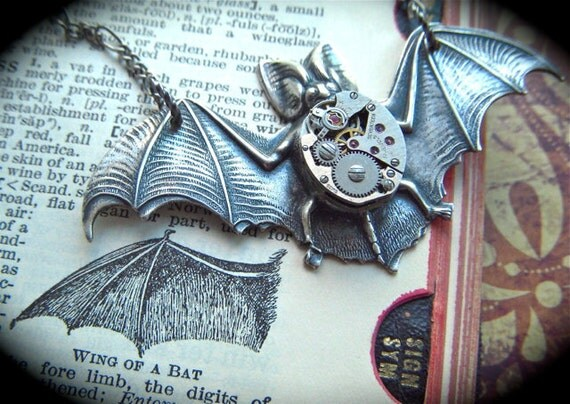 Big Steampunk Necklace Gothic Victorian Bat Tiny Vintage Watch Movement Rustic Antique Silver Finish