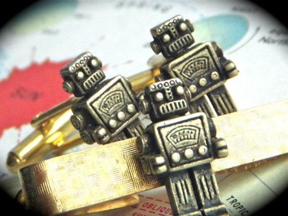 Brass Steampunk Robot Cufflinks & Robot Tie Clip Brass Plated Men's Accessories Cuff Links Set Of 3 Originals From Cosmic Firefly