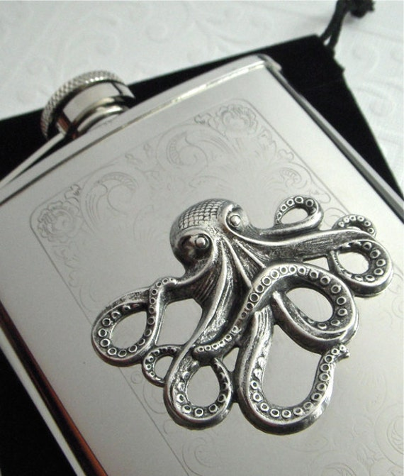 Octopus Flask Silver Plated Metal Nautical Steampunk Style Gothic Victorian Vintage Inspired Stainless Steel Pirate's Accessories & Gifts