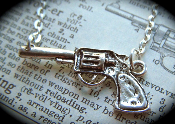Gun Necklace Antiqued Silver Tone Finish Steampunk Cowboy Revolver Vintage Inspired Fashion Jewelry