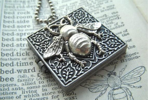 Bee Locket Necklace SQUARE Antiqued Silver Finish - Secret Compartment Shhhhh