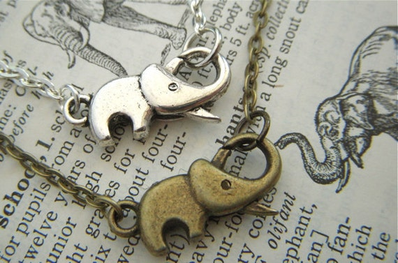 Set 2 Tiny Elephant Bracelets 1 Antiqued Brass & 1 Silver Costume Fashion Crafty Jewelry Baby Elephant Clasp Trunk Up For Good Luck