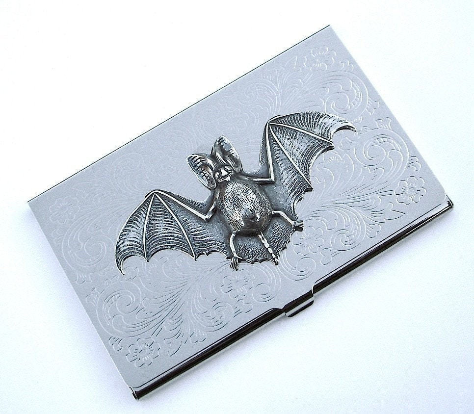 Business Card Holder Gothic BAT Silver Plated Metal