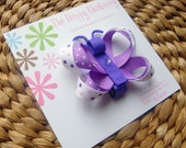 Purple and White Butterfly Boutique Hair Bow