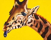 Kid's Room Art Print - Slurp the Yellow Giraffe