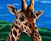 Giraffe Painting - Limited Edition Kid's Room Canvas Wall Art : Where R You Going, for Childrens Playroom
