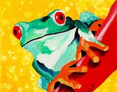 Frog Painting - Kid's Room Art Print Titled: Green Tree Frog