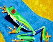 Climbing Lime Green Tree Frog: Kid's Room Art Print  8 x 8