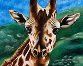 Giraffe Painting - Kid's Room Art Print Titled: Hello Giraffe