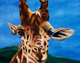 Giraffe Painting Limited Edition Giclee. Giraffe Baby Nursery, Zoo Africa Animal Decor. Girls Boys Room Artwork, Blue Baby Room Wall Art