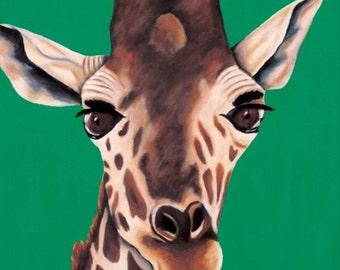 Giraffe Painting. Limited Edition, Fine Art Canvas Giclee, Safari Decor, Animal Artwork For Nursery. Girl Room Art. Boy Nursery Decor