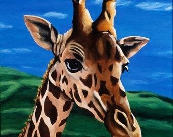Children's Room Giraffe Art Print, Animal Picture Boy Nursery, Girls Room Artwork, Safari Decor, Zoo Animal Nursery Print, Safari Nursery