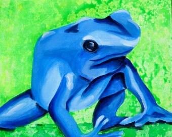 Poison Dart Frog Painting. Original Children's Room Fine Art. Blue Green Artwork, Girl Boy Nursery Decor, Rainforest Baby Room, Canvas Art