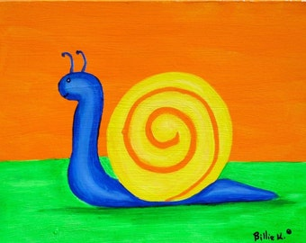 Colorful Snail Painting, Fun Kids Room Wall Art. Smiling Snail. Playroom Artwork. Boy Nursery Decor. Orange, Animal Art, Original Painting
