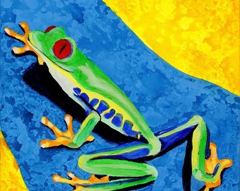 Climbing Tree Frog Painting. Green, Blue Yellow Wall Art. Original Kids Room Painting, Girls Boys Nursery Art, Safari Rainforest Decor
