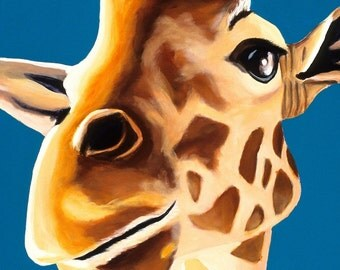 Safari Nursery Art, Animal Art, Baby Shower Gift, Kid's Room Wall Art. Giraffe Print. 11 x 14, Baby Boy Nursery, Blue Decor, Giraffe Art