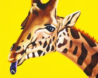 Giraffe Painting, Children's Room Wall Art. 16 x 20 Print, Boys Room Artwork, Girls Nursery Art. Zoo Animal Nursery Print, Safari Nursery