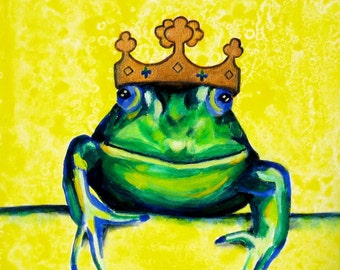 Frog Prince Print - Kids Room Wall Art 12 x 12, Fairytale Artwork, Princess Room Decor, Girls Room Artwork, Picture For Nursery