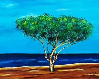 Seascape Painting of Electric Beach in Oahu, Hawaii, Original Fine Art, Tree