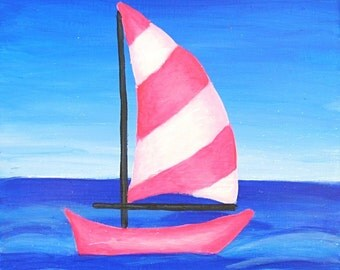 Hot Pink Sailboat, Original Playroom Art, Children's Room, Kids Wall Artwork, Kids Room Painting, Girls Nursery Decor, Baby Boy Nursery Artw